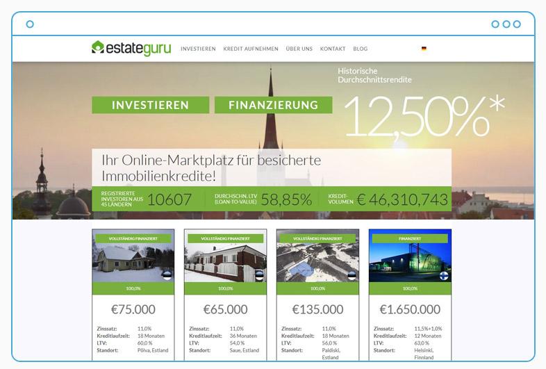 Estateguru Erfahrungen Landingpage