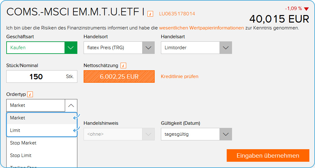 Onlinebroker Flatex ETF Ordertyp Auswahl