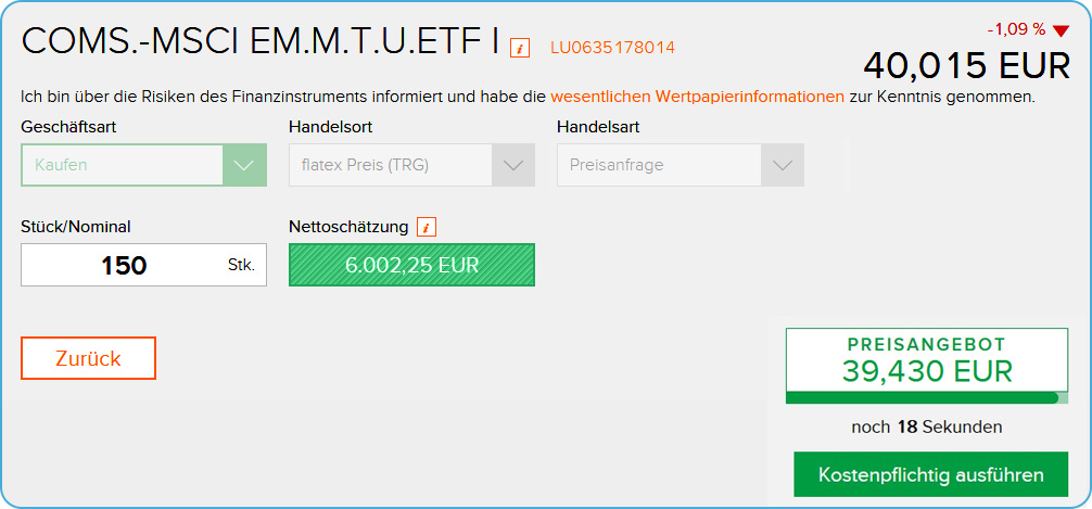 Broker Flatex ETF Ordermaske Preisanfrage