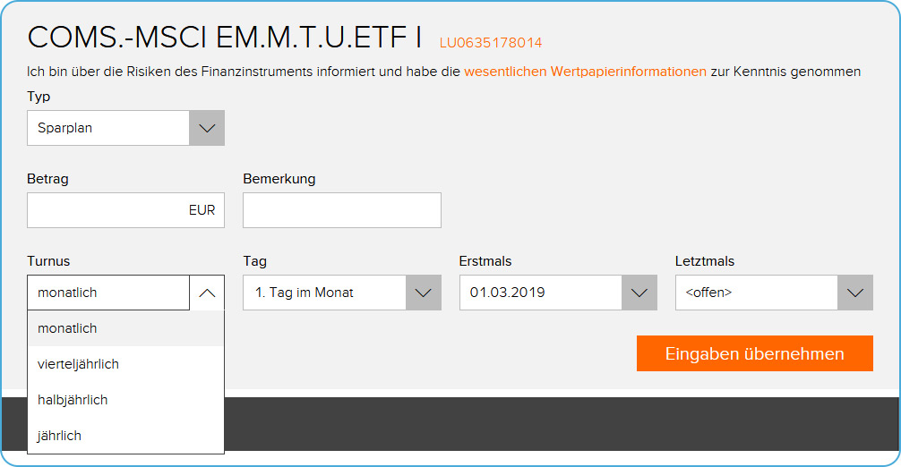 flatex ETF Sparplan Einstellungen